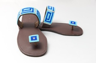 blue beaded shoe with square toe