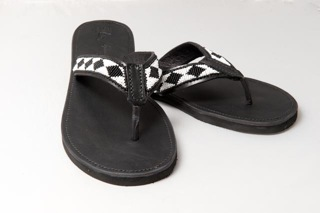 mens beaded black and white sandle